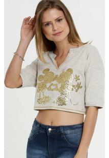 Blusa Feminina Cropped Estampa Minnie Disney