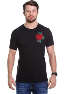 Camiseta Javali Preta Flor Bordada