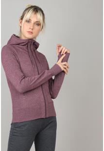Blusão Feminino Esportivo Ace Em Moletom Com Capuz Roxo