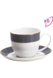 Jogo De Xícaras De Chá Cobalto- Branco & Azul Marinho