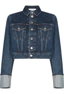 Helmut Lang Jaqueta Jeans Cropped Fem Little Trucker - Azul