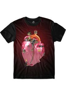 Camiseta Bsc Coração De Máquina Motor Rosa Sublimada Vermelho