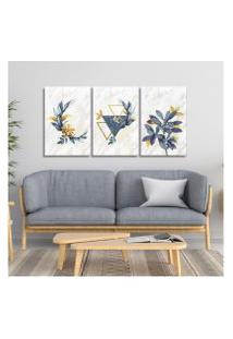 Quadro 60X120Cm Escandinavo Floral Atenas Canvas Decoraçáo
