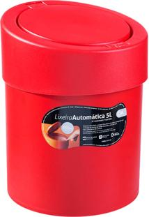 Lixeira 5L Com Acionamento Automático Da Tampa E Borda Para Esconder Saco De Lixo, Cor Vermelha - Coza