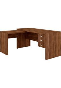 Mesa Para Escritório 3 Gavetas Me4106 Nogal - Tecno Mobili