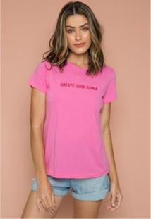 T-Shirt Good Karma Sislla Feminina - Feminino-Rosa