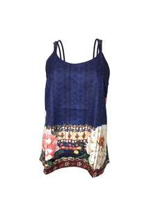 Blusa Nino Danieli De Alcinha Estampa Floral Com Textura Cmfv80163 Azul Marinho