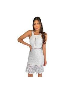 Vestido Curto Boutelle De Renda Floral Branco