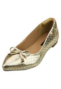 Sapatilha Bico Fino Love Shoes Matelasse Metalizado Laçinho Ouro