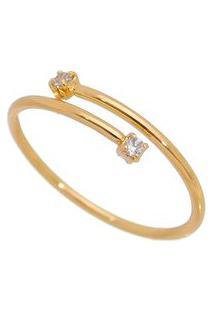Anel Banhado A Ouro Com Pedrarias- Incolor & Douradocarolina Alcaide