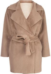 Apparis Marine Faux Fur Reversible Wrap Jacket - Marrom