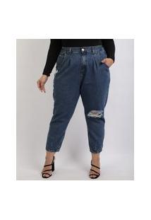 Calça Jeans Feminina Plus Size Mom Destroyed Cintura Alta Com Bolsos Azul Escuro