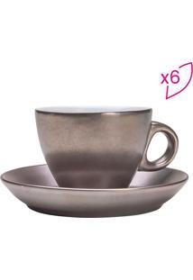 Jogo De Xícaras Para Café Com Pires Argent Metalizado- Mrojemac