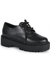 Sapato Oxford Feminino Robusto Preto Preto