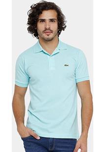 Camisa Polo Lacoste Piquet Original Fit Masculina - Masculino-Azul Piscina