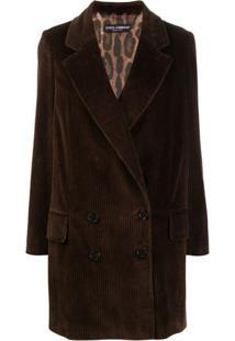 Dolce & Gabbana Blazer Com Abotoamento Duplo De Veludo Cotelê - Marrom