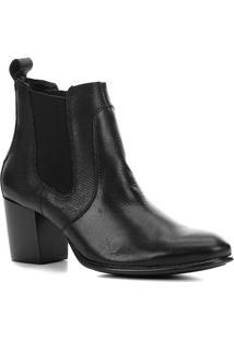 Bota Chelsea Shoestock Salto Alto Feminina - Feminino-Preto
