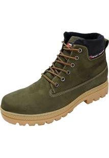 Tênis Coturno Adventure Em Couro Atron Shoes Oliva