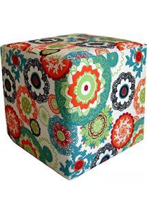 Puff Quadrado Decorativo Tecido Floral Laranja - Lymdecor