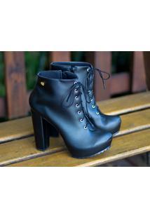 Ankle Boot Tratorada Tamanho Grande Dm Extra Preta Dme1811202 Numeração Especial 40 41 42 43