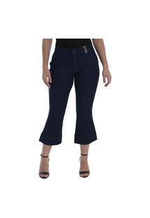 Calça Jeans Osmoze Flare Cropped Mid Rise 23120 Un Azul