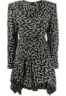 Isabel Marant Vestido Mangas Longas Com Padronagem - Preto