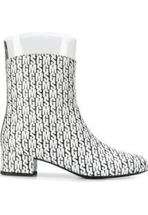 Msgm Ankle Boot Com Padronagem - Branco