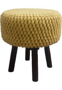 Puff Croche Amarelo Com Pé De Madeira - Lé Crochet