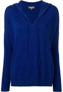 N.Peal Blusa De Tricô Com Capuz - Azul