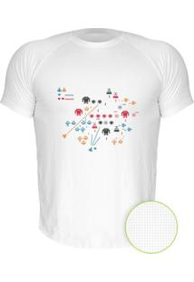Camiseta Manga Curta Nerderia Space Invader Branco