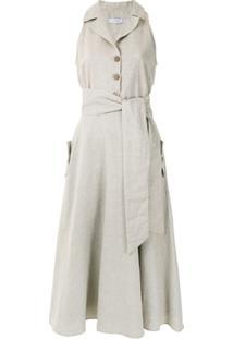 Isolda Vestido Midi Com Amarração - Neutro