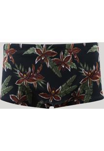Sunga Masculina Slip Estampada Floral Com Proteção Uv50+ Preta