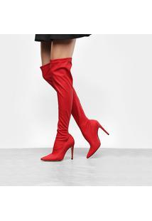Bota Over The Knee Luiza Barcelos Elastano Ecowear Feminina - Feminino-Vermelho