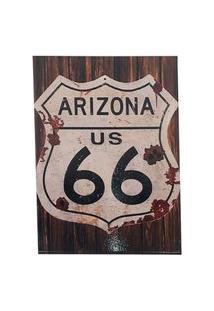 Quadro Decorativo Sala Metal Arizona Us 66 Marrom 29X22X1Cm