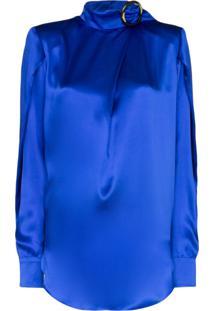 Matériel Blusa Com Laço Na Gola - Azul