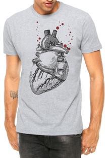 Camiseta Criativa Urbana Coração Realista Manga Curta - Masculino