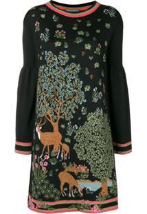 Alberta Ferretti Vestido Estampado - Preto