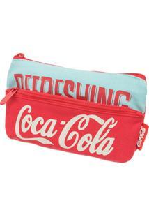 Necessaire Coca-Cola Retrô - Unissex-Vermelho+Azul