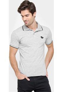 Camisa Polo Rg 518 Malha Friso Logo Masculina - Masculino-Mescla