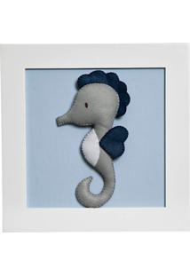 Quadro Decorativo Cavalo Marinho Potinho De Mel Azul