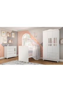Dormitório Guarda Roupa Ariel 3 Portas Fraldário Berço Gabi Branco Carolina Baby - Tricae