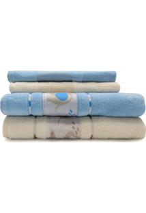 Jogo De Toalha 4 Peã§As Infantil Soft Baby E Lavabo Decor - Appel - Azul Cã©U/Pã©Rola - Azul - Dafiti