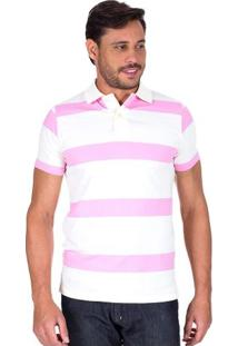 Camisa Polo Masculina Rosa Listrada Upper - M