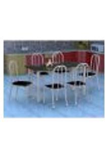 Conjunto De Mesa Granada Com 6 Cadeiras Madri Prata E Preto Liso Gr