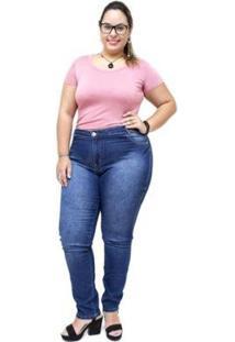 Calça Jeans Feminina Credencial Plus Size Skinny Lizolene - Feminino-Azul