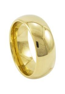 Aliança De Tungstênio New Tungsten 8Mm Tradicional Gold - Unissex-Dourado
