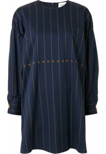 Portspure Vestido Reto Com Listras - Azul