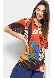 Camiseta Cantão Estampa Folhagem Feminina - Feminino-Pérola+Vermelho