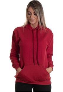 Blusa Lucas Lunny Moletom Canguru Feminino - Feminino-Vermelho Escuro