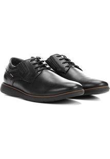 Sapato Couro Casual Ferracini Trindade Masculino - Masculino-Preto